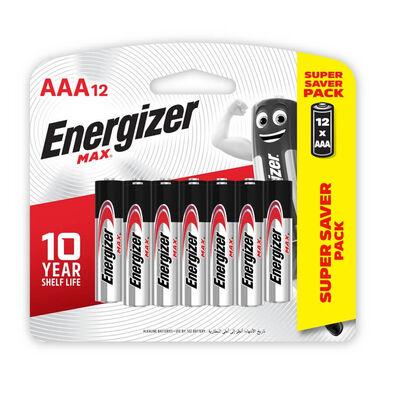 Energizer Max + Powerseal Technology Alkaline AAA Batteries 12 Pack