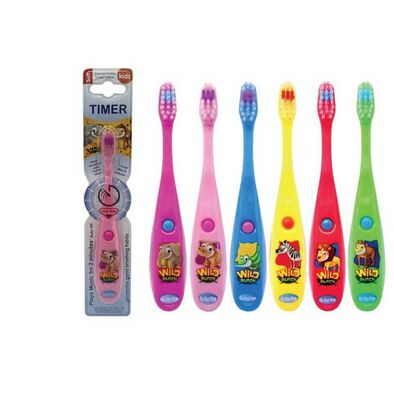 B Brite Brush Right Wild Bunch Musical Timer Toothbrush - Assorted