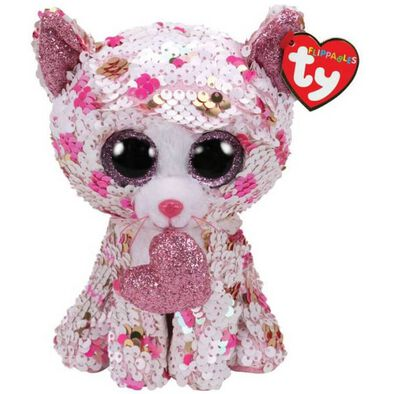TY Flippables 6 Inch Regular Size Cupid Polka Dot Cat