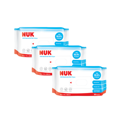 Nuk Anti-Bacterial Wet Wipes (80 Sheets x 3 Packs)