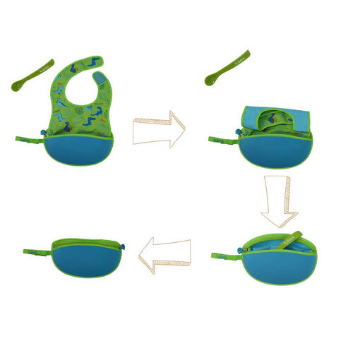 B.Box Travel Bib + Silicone Spoon Dino Time