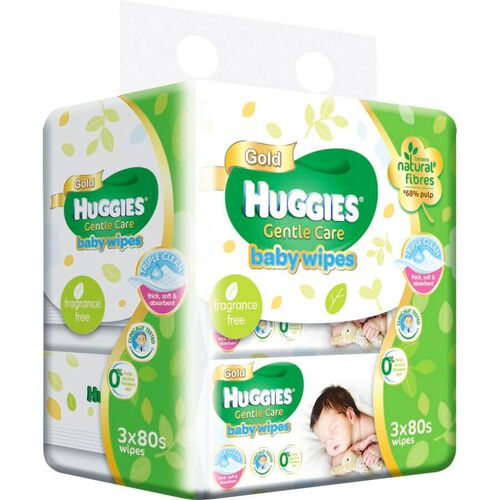 Huggies Gentle Care Baby Wipes (80Pc X3)