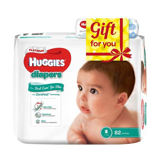 Huggies Platinum Diapers (S) 82 Diapers With Baby Wipe
