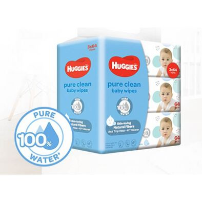 Huggies Baby Wipes Pure Clean 3 Pack 64S