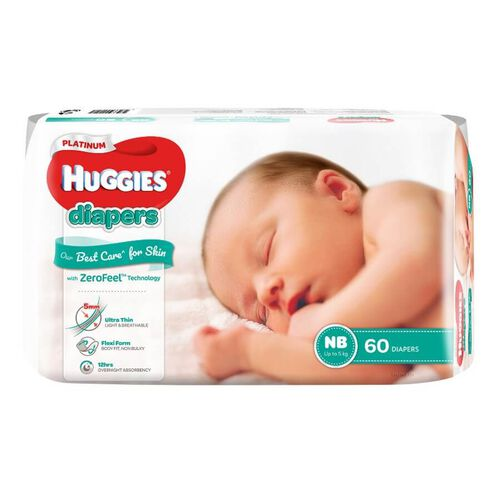 Huggies Platinum Diapers NB 60S