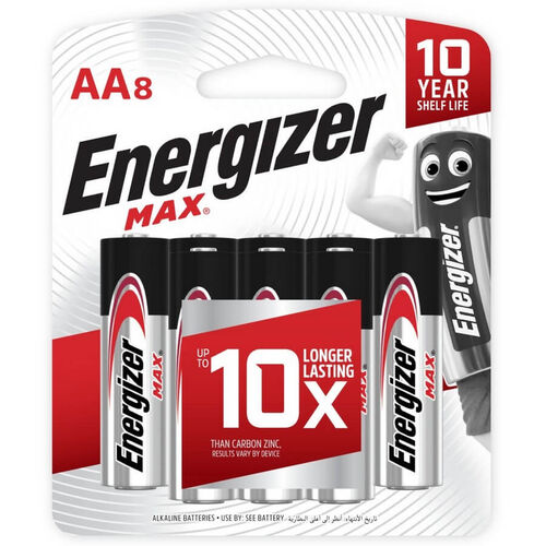 Energizer Max Alkaline AA Batteries 8 Pack
