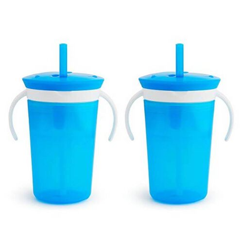 Munchkin Snack and Sip 2-In-1 Snack Catcher And 2 Piece Spill-Proof Cup Blue