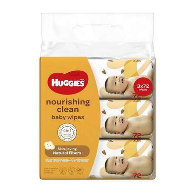 Huggies Baby Wipes Nourishing Clean 3 Pack 72S