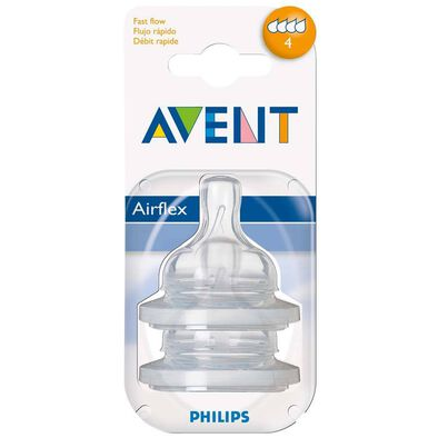 Philips Avent 2 Pack Teats Fast Flow 4 Hole (Sf63427)