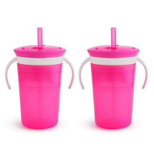 Munchkin Snack and Sip 2-In-1 Snack Catcher And 2 Piece Spill-Proof Cup Pink