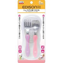 Edison Mama Fork and Spoon With Case (Grape / Tomato)