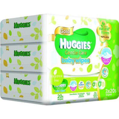 Huggies - Baby Wipes Gentle Care 20's x 3