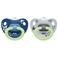 Nuk Happy Nights Silicone Soother  (0-6 Months) - Assorted