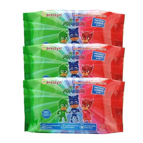 PJ Masks Hand and Mouth Wipes 20 Sheets x 3 Pack