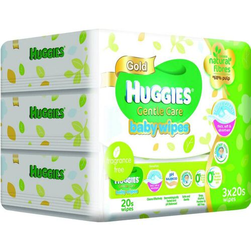 Huggies - Baby Wipes Gentle Care 20's x 3
