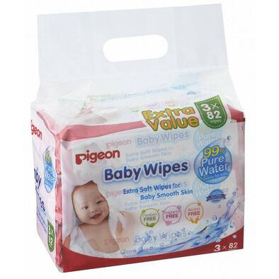 Pigeon Baby Wipes 82 Sheets - 3 In 1 Refill